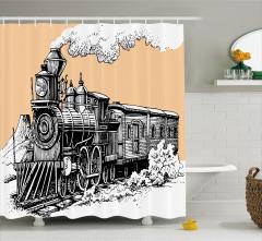 Siyah Beyaz Duş Perdesi Nostaljik Tren Temalı Şık