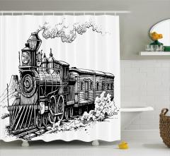 Nostaljik Tren Desenli Duş Perdesi Siyah Beyaz Antik