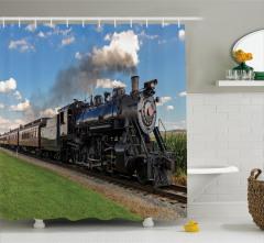 Buharlı Tren Temalı Duş Perdesi Mavi Nostaljik Şık
