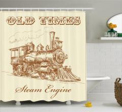 Buharlı Tren Temalı Duş Perdesi Bej Nostaljik Şık
