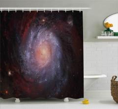 Uzay Temalı Duş Perdesi Gökyüzü Galaksi Evren Şık