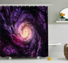 Uzay Temalı Duş Perdesi Mor Kozmos Galaksi Evren