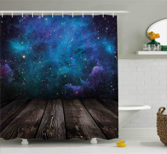 Mavi Galaksi Desenli Duş Perdesi Uzay Temalı Gökyüzü