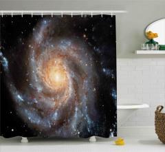 Kozmos Temalı Duş Perdesi Gri Galaksi Uzay Evren