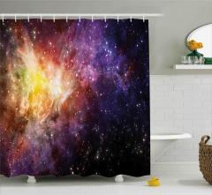 Mor Yıldız Desenli Duş Perdesi Uzay Temalı Gökyüzü