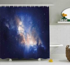 Yıldızlar ve Gökyüzü Temalı Duş Perdesi Uzay Şık
