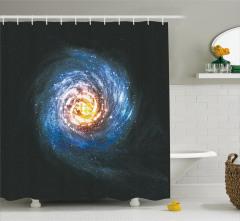 Kozmik Temalı Duş Perdesi Sarmal Desenli Mavi Uzay
