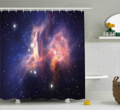 Uzay Temalı Duş Perdesi Pembe Galaksi Yıldız Şık
