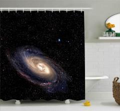 Uzay Temalı Duş Perdesi Siyah Yıldız Gökyüzü Şık