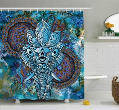 Mavi Fil Desenli Duş Perdesi Şık Tasarım Çeyizlik