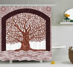 Kahverengi Ağaç Temalı Duş Perdesi Şık Tasarım Trend
