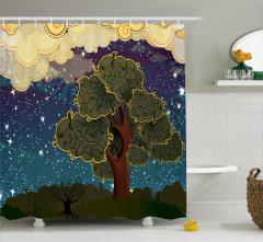 Ağaç ve Yıldızlar Temalı Duş Perdesi Kahverengi Mavi
