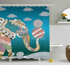 Rengarenk Fil ve Top Desenli Duş Perdesi Şık Tasarım