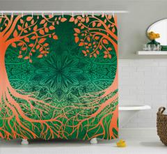 Ağaç ve Çiçek Desenli Duş Perdesi Turuncu Yeşil Şık