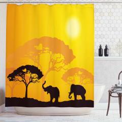 Afrika Desenli Duş Perdesi Filler Ağaçlar ve Güneş