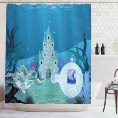 Su Altı Sarayı Desenli Duş Perdesi Deniz Yunuslar