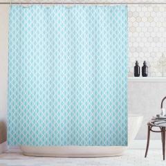 Mavi Beyaz Eğri Çizgili Duş Perdesi Şık Tasarım