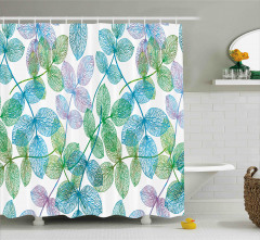 Yeşil Mavi Yaprak Desenli Duş Perdesi Dekoratif