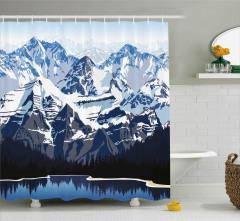 Karlı Dağ Gölü Desenli Duş Perdesi Mavi Beyaz Kış