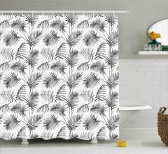 Palmiye Ağacı Desenli Duş Perdesi Gri Dekoratif