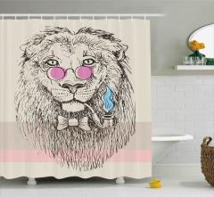 Pembe Gözlüklü Aslan Desenli Duş Perdesi Portre Şık