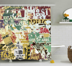 Yırtık Posterler Desenli Duş Perdesi Kahverengi