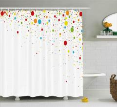 Rengarenk Minik Noktalar Desenli Duş Perdesi Trend