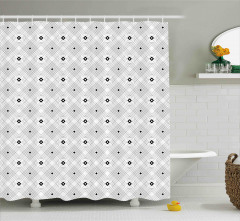Siyah Beyaz Kare Desenli Duş Perdesi Geometrik