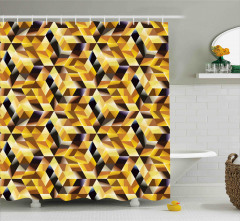 Geometrik Mozaik Desenli Duş Perdesi Dekoratif Sarı