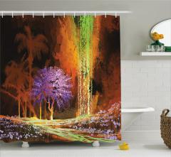 Mor Ağaç ve Şelale Temalı Duş Perdesi Kahverengi