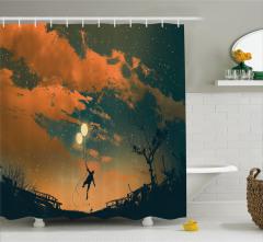 Balonlu Adam ve Gökyüzü Temalı Duş Perdesi Turuncu