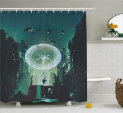 Yıldırım Küresi Temalı Duş Perdesi Yeşil Şık Tasarım