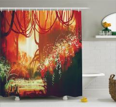 Ormanda Sonbahar Temalı Duş Perdesi Turuncu Sarı