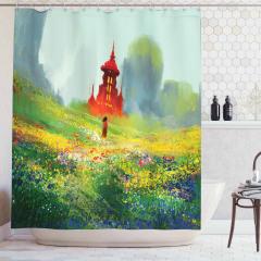 Kırdaki Kız Temalı Duş Perdesi Yeşil Kale Çiçek