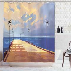 Köprü ve Gökyüzü Temalı Duş Perdesi Sarı Mavi Deniz