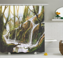 Ormandaki Şelale Temalı Duş Perdesi Yeşil Trend