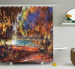 Çiçek ve Göl Desenli Duş Perdesi Turuncu Sonbahar