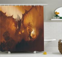 Ejderha ve Büyücü Temalı Duş Perdesi Kahverengi