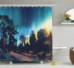 Yıldızlar Altındaki Orman Temalı Duş Perdesi Mavi
