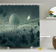 Astronot ve Uzay Temalı Duş Perdesi Gri Gezegen