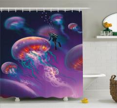 Denizanası ve Dalgıç Desenli Duş Perdesi Mor Deniz
