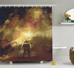 Astronot ve Uzay Temalı Duş Perdesi Sarı Kahverengi
