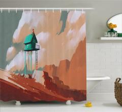 Yeşil Ev ve Gökyüzü Temalı Duş Perdesi Kahverengi