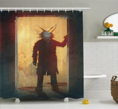 Tavşan Maskeli Adam Temalı Duş Perdesi Sarı Kapı