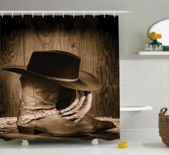 Kovboy Temalı Duş Perdesi Şapka Çizme Kahverengi