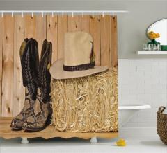 Kovboy Çizmesi ve Şapka Temalı Duş Perdesi Kahve
