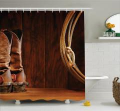 Kovboy Çizmesi Temalı Duş Perdesi Kahverengi Ahşap