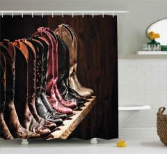 Kovboy Çizmeleri Temalı Duş Perdesi Kahverengi Ahşap