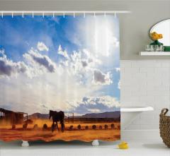 At ve Gökyüzü Temalı Duş Perdesi Mavi Kahverengi