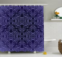 Şık Çiçek Desenli Duş Perdesi Lacivert Arka Planlı